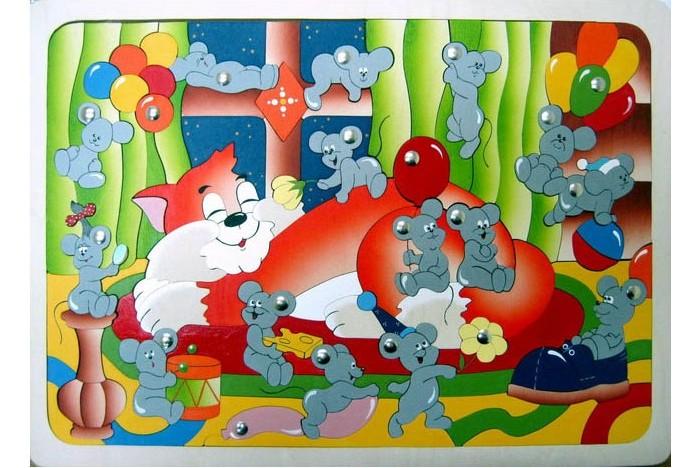 Деревянные игрушки Крона Пазл магнитный Мышиная охота (124 детали)
