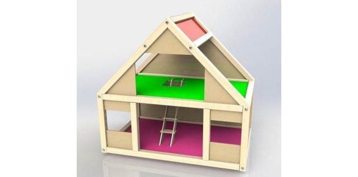 Кукольные домики и мебель Соколов Набор Домик деревянный для кукол до 10 см Мила