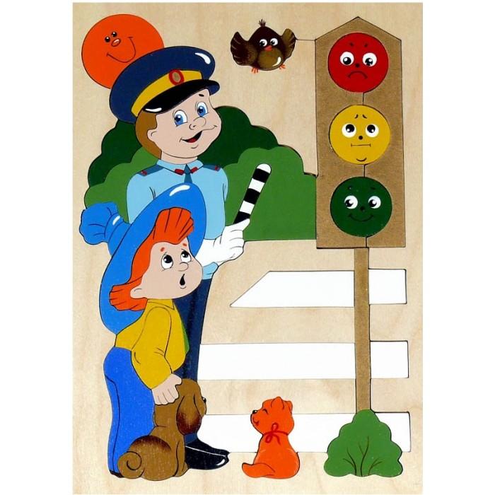 Деревянные игрушки Крона Мозаика-вкладыш Светофор (36 деталей)