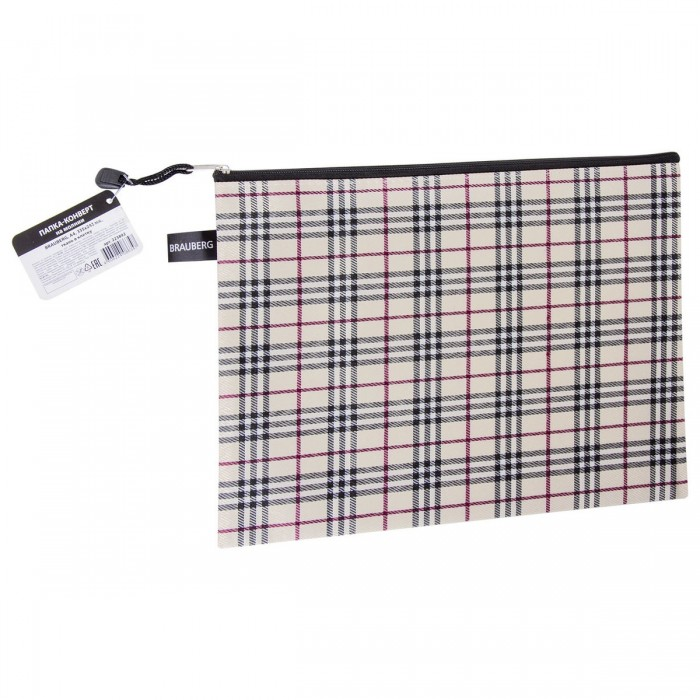 Канцелярия Brauberg Папка-конверт на молнии А4 Checked outdoor checked pattern artificial wool fringed shawl scarf
