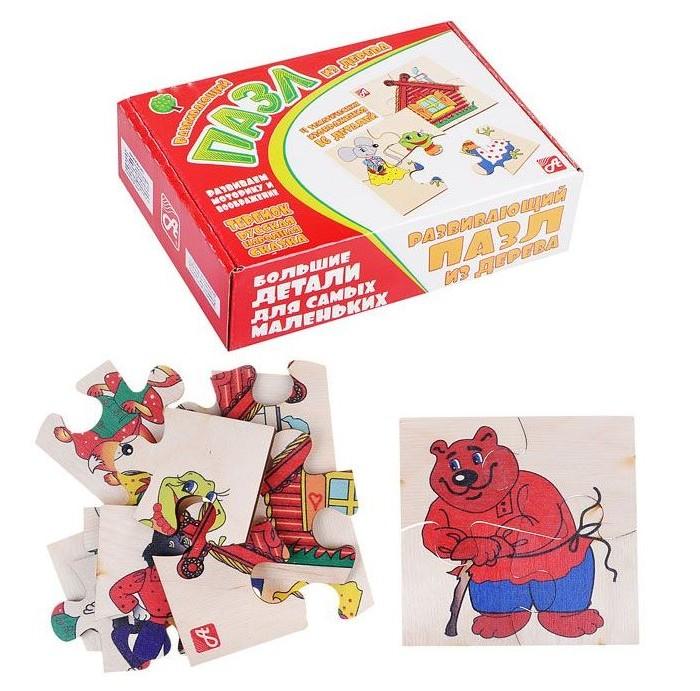 Деревянные игрушки Русские деревянные игрушки Пазлы Теремок 4 шт.