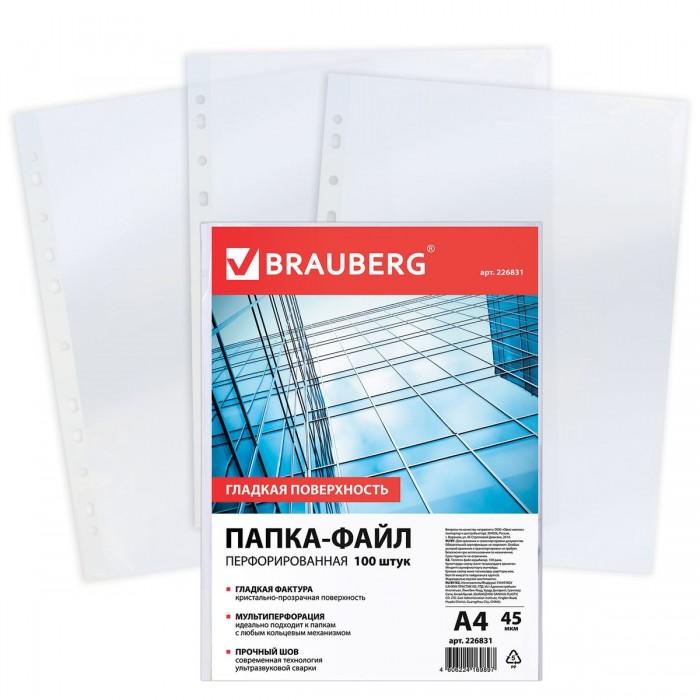 Канцелярия Brauberg Папки-файлы перфорированные гладкие А4 100 шт.