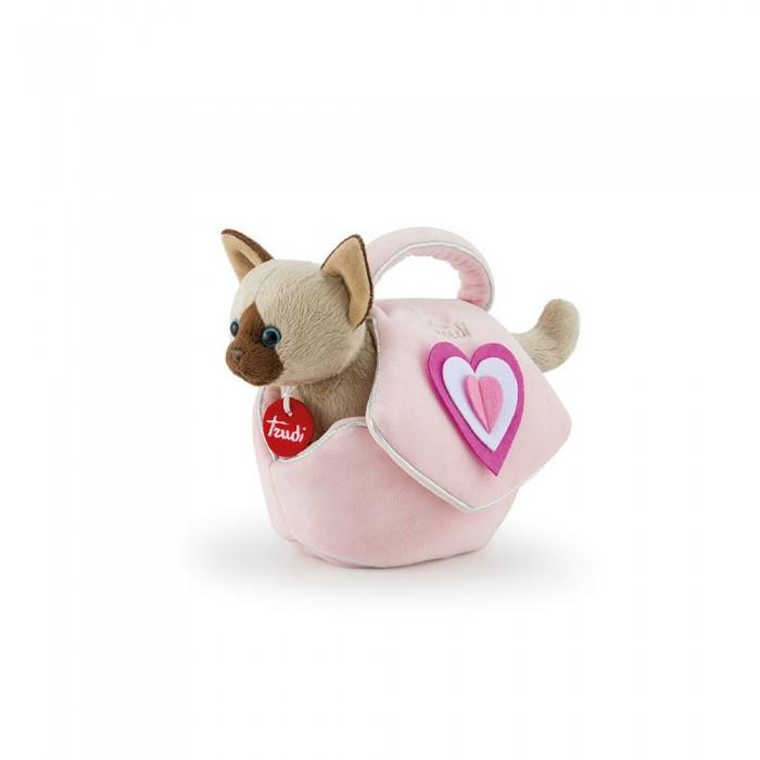 Картинка для Мягкая игрушка Trudi Сиамский котёнок в розовой сумочке