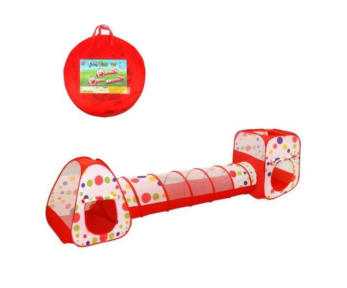 Палатки-домики, Наша Игрушка Палатка игровая Горошек с туннелем 355х90х90 см  - купить со скидкой