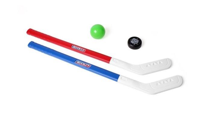 Спортивный инвентарь Технок Хоккейный набор: 2 клюшки, шайба, мяч