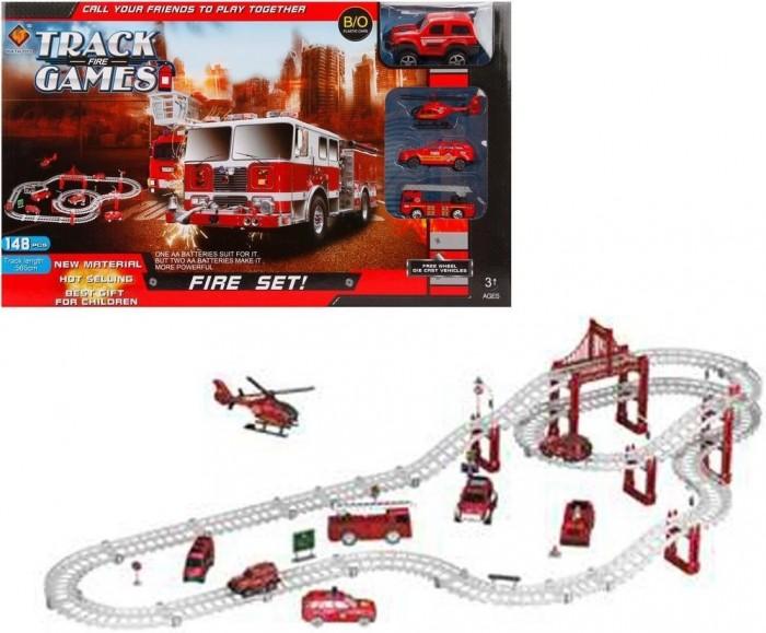 Машины Наша Игрушка Автотрек Пожарная бригада (148 деталей)
