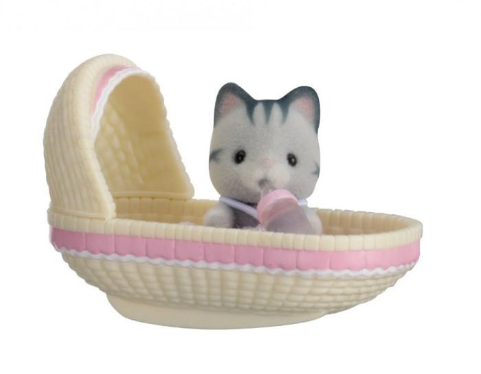 Купить Игровые наборы, Sylvanian Families Набор Младенец в пластиковом сундучке. Котенок в люльке