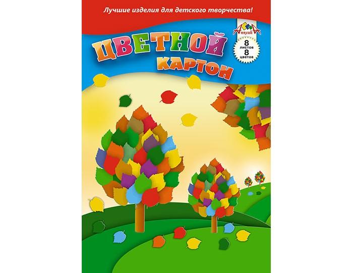 Картинка для Канцелярия Апплика Цветной картон в папке Цветное дерево А4 8 листов 8 цветов