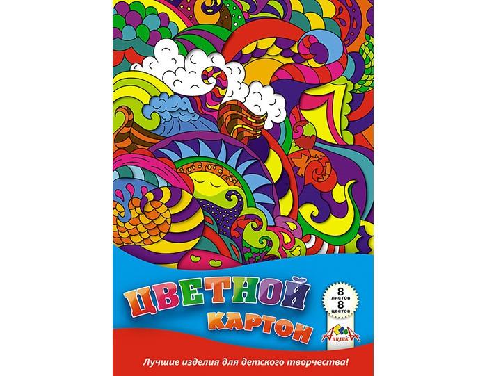 Канцелярия Апплика Цветной картон в папке Завитки А4 8 листов 8 цветов action картон action бабочки цветной а4 8 цв 8 л