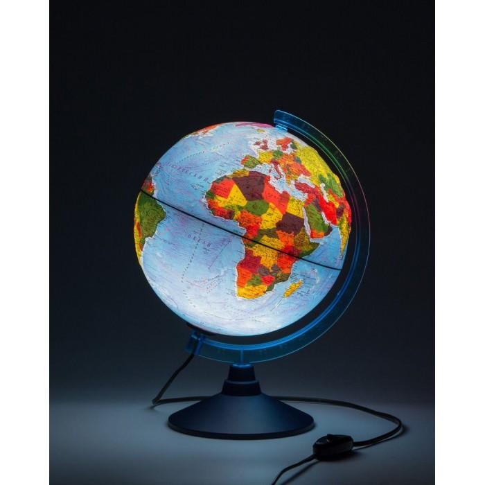 Глобусы Globen Глобус Земли физико-политический рельефный с подсветкой D-250 мм