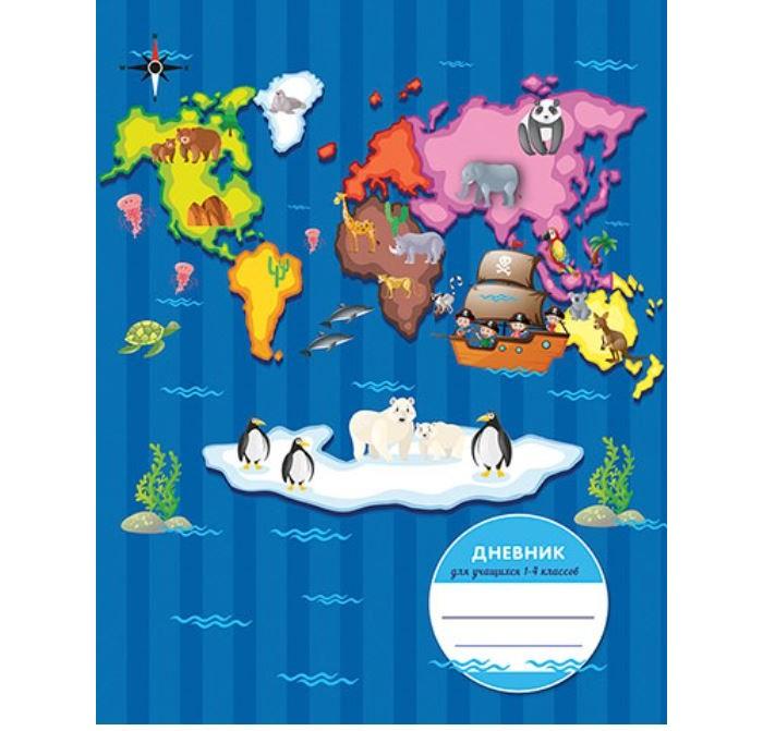 Канцелярия Апплика Дневник для младших классов в твердом переплете Карта 48 листов канцелярия апплика дневник для младших классов юный гонщик 48 листов