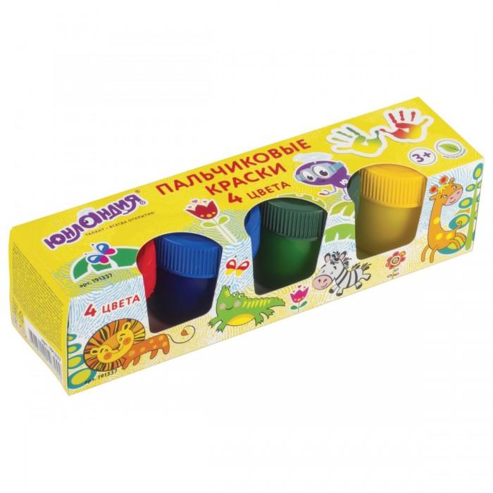 цена на Краски Юнландия Краски пальчиковые Сафари 4 цвета по 35 мл