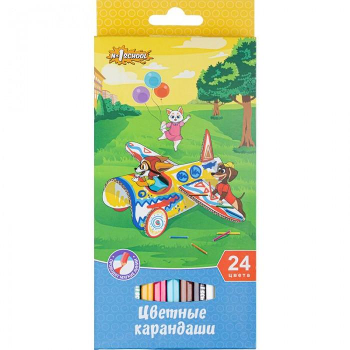 Карандаши, восковые мелки, пастель №1 School Карандаши цветные шестигранные Шустрики 24 цвета карандаши элефант 24 цвета