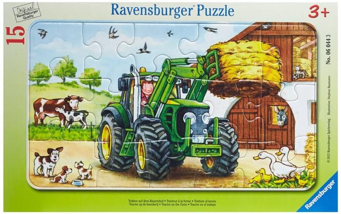 Пазлы Ravensburger Пазл Трактор на ферме 15 элементов пазлы ravensburger пазл коровы на лугу 15 элементов