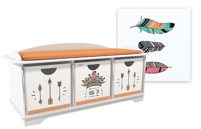 Купить Ящики для игрушек, Continent Decor Пенал ящик для хранения с картиной Перья