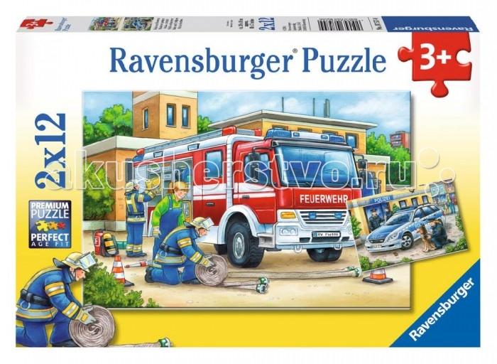 Пазлы Ravensburger Пазл Полицейские и пожарные 2х12 элементов