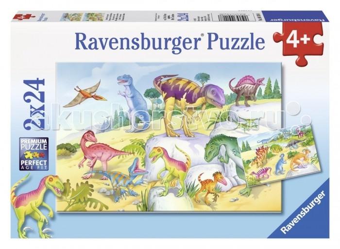 Пазлы Ravensburger Пазл Красочные динозавры 2х24 элементов