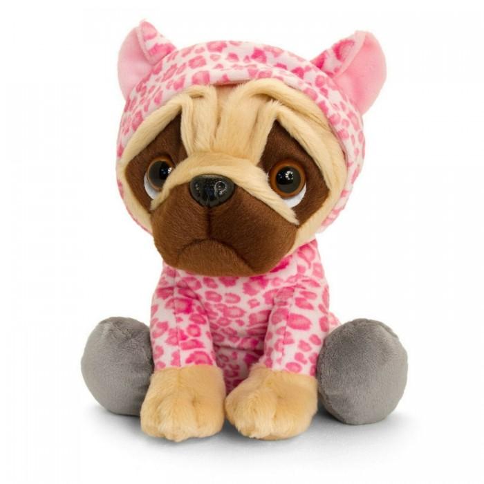 Купить Мягкие игрушки, Мягкая игрушка Keel Toys Мопс Pugsley в наряде розового леопарда 22 см