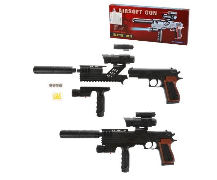 Игрушечное оружие Наша Игрушка Пистолет-автомат механический с прицелом пистолет механический в