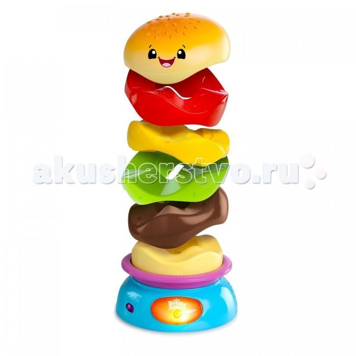 Развивающая игрушка Bright Starts Веселый бутербродВеселый бутербродВеселая и красочная пирамидка Веселый бутерброд увлечет малыша забавной и интересной игрой! Игровой набор представляет собой основание с функциональной кнопочкой, на которое укладываются фигурные колечки - ингредиенты веселого гамбургера. Кольца имеют необычную форму, и тем не менее легко соединяются между собой.   А если нажать на кнопку пуска, тарелка начнет вращаться, раскручивая пирамидку быстрее и быстрее. Игра сопровождается веселой музыкой и световыми эффектами, что доставит невероятное удовольствие ребенку! Такая пирамидка поможет в игровой форме развить у малыша цветовосприятие, концентрацию и ловкость ручек.  Тип батареек: 2 x AA / LR6 1.5V (пальчиковые).  Размер игрушки: 13 x 13 x 22 см.<br>