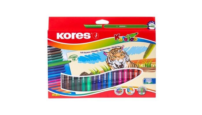 Фломастеры Kores  с коническим стержнем 20 цветов