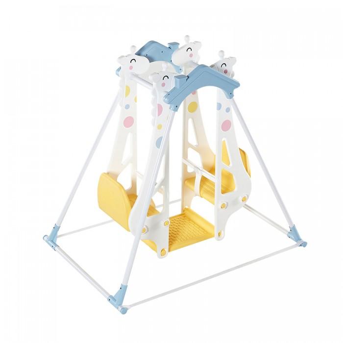 Качели Haenim Toy Жираф-Дракон для двоих детейЖираф-Дракон для двоих детейЛегкие пластиковые качели Жираф и Дракон станут любимым развлечением Ваших малышей. Кататься можно одному и вдвоем.  Кабинка-качели: удобные пластиковые сидения - стульчики, ремни безопасности, упор для ножек.   Турник.   Конструкция достаточно устойчивая, крепкая, безопасная, и в то же время легкая и простая в сборке.   Металлические стойки турника помещены в пластиковые трубки.   Ножки имеют мягкие пластиковые основания.   Качели можно установить где угодно: дома, в комнате, на даче, у песочницы.  Размер: 1265 х 875 х 1177 мм. Коробка: 1160 х 360 х 265 мм.<br>