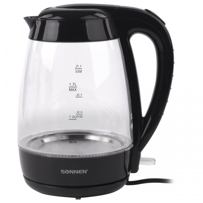 Купить Бытовая техника, Sonnen Чайник KT-200BK стекло с подсветкой 1.7 л