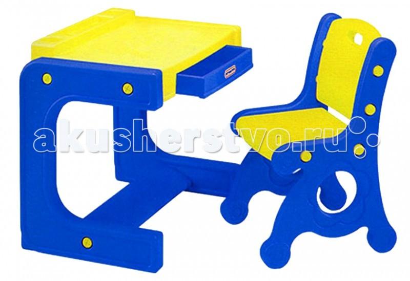Haenim Toy Стол + стулСтол + стулСтолик оснащен выдвижным ящиком, отделениями - подставками для карандашей, блокнотов, красок и т.п. Столешница сделана с антистатическим покрытием. Столик имеет рифленую подставку для ножек, что очень удобно.  Стул имеет ручку в виде отверстия для переноски. Комплект выполнен в ярких красках, которые привлекают внимание малыша. В ящичке можно хранить все необходимы вещи, а также результаты работы Вашего ребенка. За таким столиком и стуликом так и хочется присесть порисовать, полепить, учиться читать. Но после игр надо прибрать свой столик - так малыш привыкает к порядку и ответственности.  Комплект выполнен из пластика, отвечающего европейским требованиям качества и безопасности, его можно использовать как дома, так и на улице. Комплект легко складывается и собирается.  Материал высококачественная пластмасса. Размер парты 60x41x62 см. Размер стула 59,5x31x44,5 см. Размер упаковки 59,5x31x44,5 см. Вес с упаковкой 8 кг , без упаковки 6 кг. Возраст от 1-го года.<br>