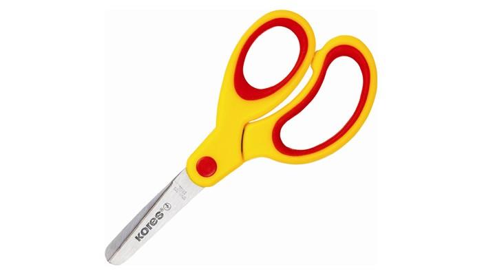 Канцелярия Kores Ножницы детские Kores Softgrip с прорезиненными ассиметричными ручками 13 см ножницы детские sensoft для левшей 13 см цвет красный желтый