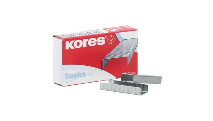 Канцелярия Kores Скобы для степлера №10 никелированные 1000 шт. скобы для степлера hammer flex 215 001 12x5x1 2 мм u образные тип 28 1000 шт