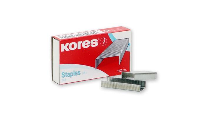 Канцелярия Kores Скобы для степлера №24/6 никелированные 1000 шт.