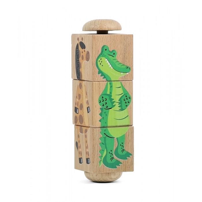 Деревянные игрушки Десятое королевство Кубики на оси Зоопарк 3 шт. кубики scratch giant stacking tower farm от 3 лет 5 шт