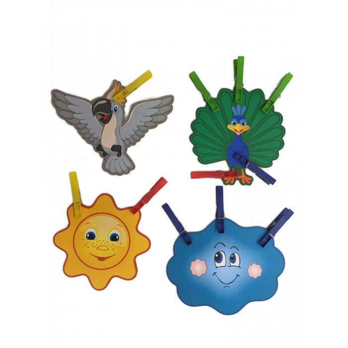 Сибирские игрушки Игры с прищепками Солнце, тучка, павлин, какаду