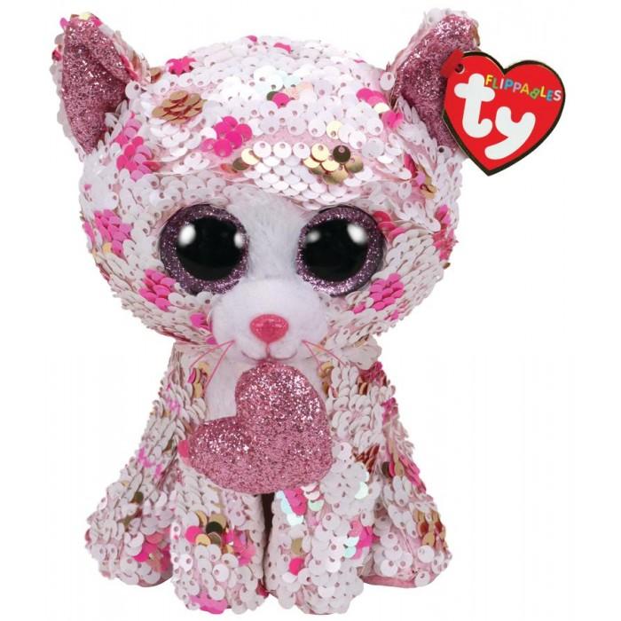 Купить Мягкие игрушки, Мягкая игрушка TY Купидон кошка в горошек с пайетками 25 см