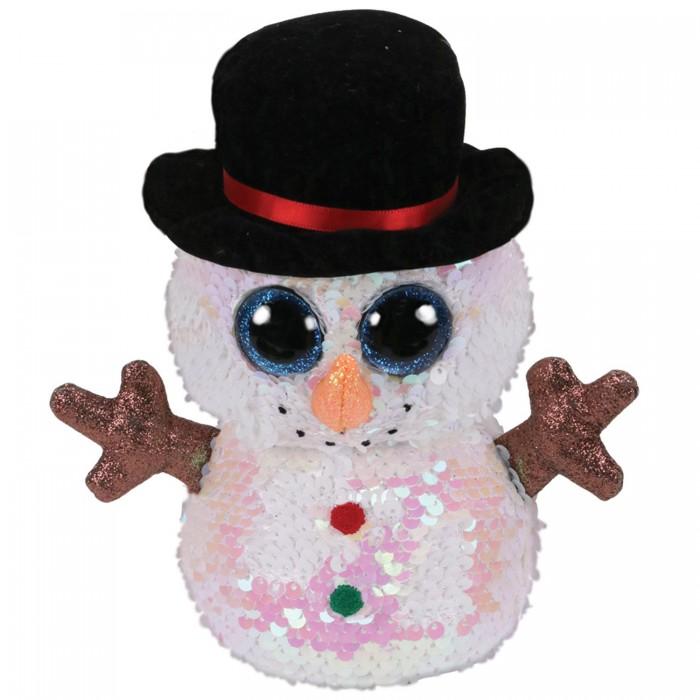 Купить Мягкие игрушки, Мягкая игрушка TY Мэлти снеговик с пайетками 15 см