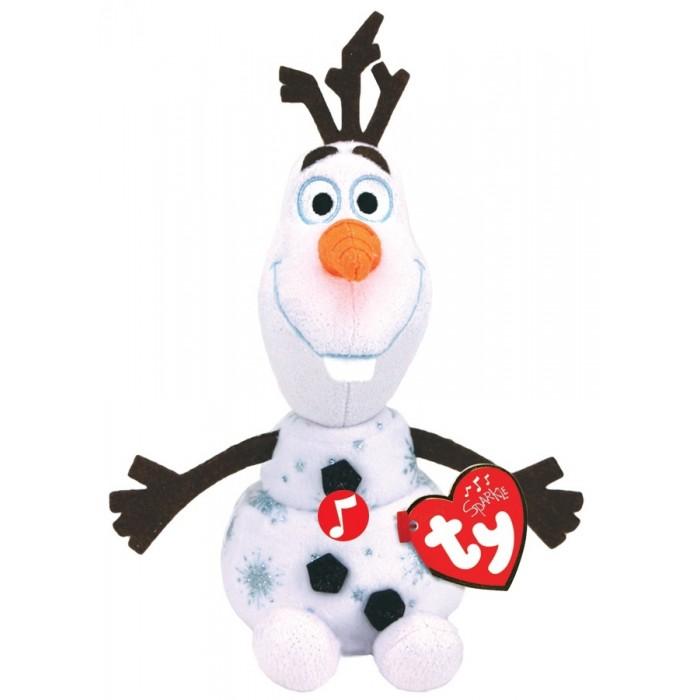 Мягкие игрушки TY со звуком Олаф снеговик Холодное сердце 2 15 см