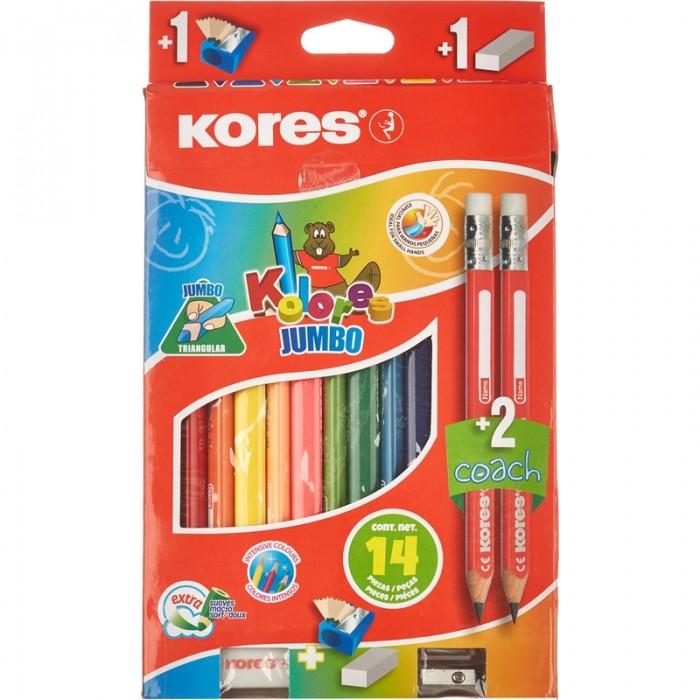 Kores  Карандаши цветные Jumbo трехгранные 12 цветов