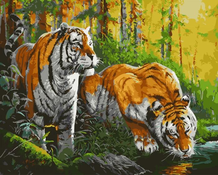 Картины по номерам, Paintboy Картина по номерам Тигры на водопое  - купить со скидкой