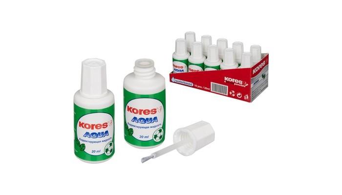 Канцелярия Kores Корректирующая жидкость Aqua на водной основе с кисточкой 20 мл
