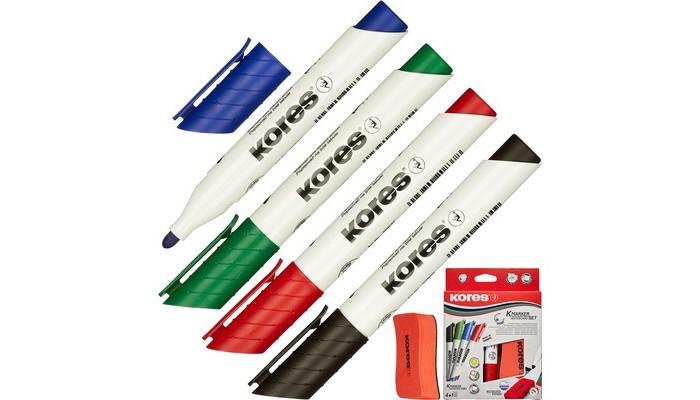 Канцелярия Kores Маркеры для досок с губкой 3 мм 4 шт. kores набор маркеров xw1 6 шт 20802