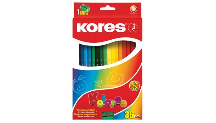 Фото - Карандаши, восковые мелки, пастель Kores Карандаши цветные шестигранные с точилкой 36 цветов карандаши восковые мелки пастель kores карандаши цветные шестигранные с точилкой 12 цветов