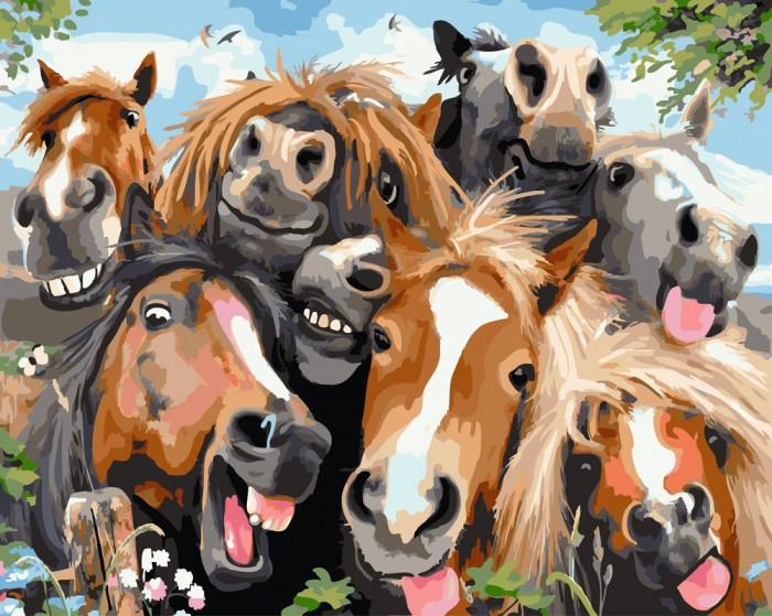 Картины по номерам Paintboy Картина Веселые лошадки