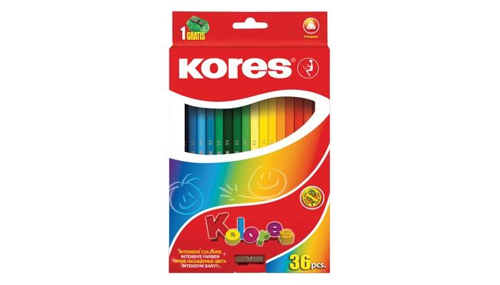 Фото - Карандаши, восковые мелки, пастель Kores Карандаши цветные трехгранные с точилкой 36 цветов карандаши восковые мелки пастель kores карандаши цветные шестигранные с точилкой 12 цветов