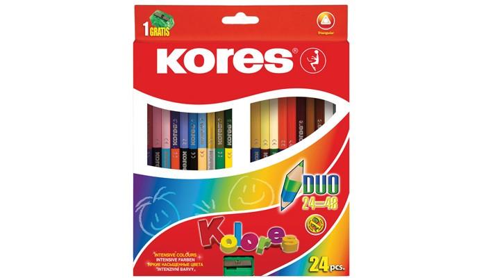 Фото - Карандаши, восковые мелки, пастель Kores Карандаши цветные трехгранные двусторонние с точилкой 48 цветов 24 шт. карандаши восковые мелки пастель kores карандаши цветные шестигранные с точилкой 12 цветов