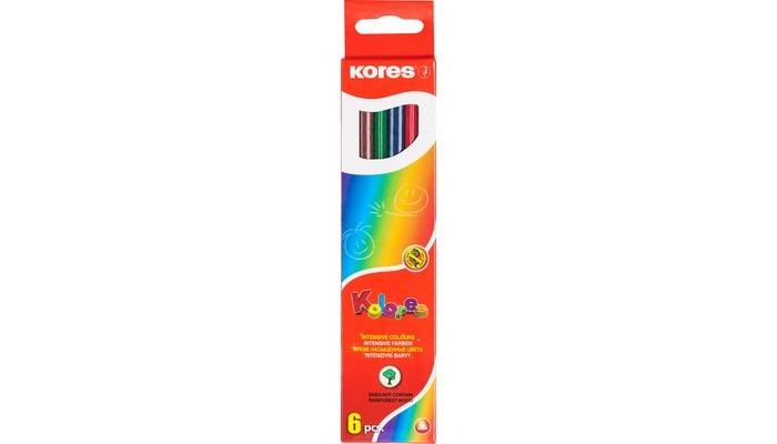 Карандаши, восковые мелки, пастель Kores Карандаши цветные шестигранные 6 цветов