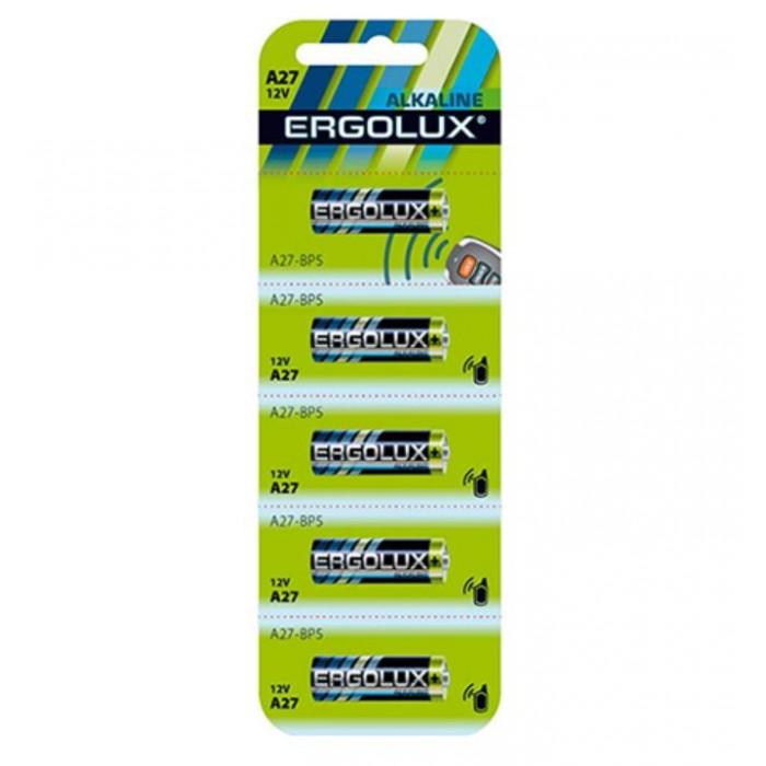 Батарейки, удлинители и переходники Ergolux Батарейка алкалиновая LR27A BL-5 (цилиндрическая – LR, 12В)