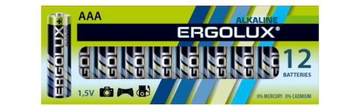 Батарейки, удлинители и переходники Ergolux Батарейка Alkaline BP-12 (ААА - LR03, 1.5В) трековый светильник arte lamp track lights a3607pl 1bk