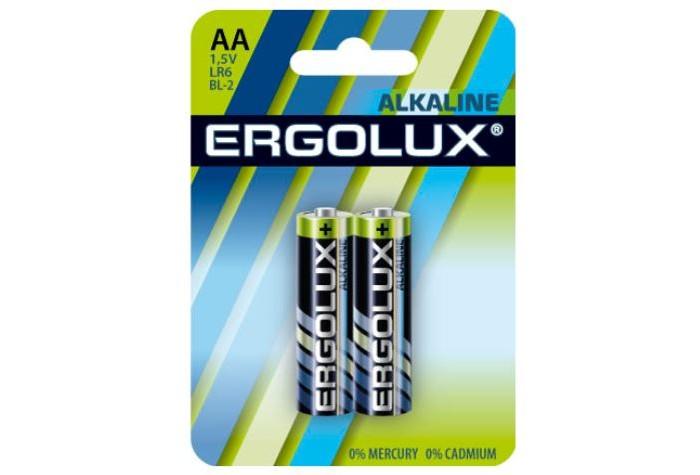 Батарейки, удлинители и переходники Ergolux Батарейка Alkaline BL-2 (AA - LR6, 1.5В) батарейки aa lr6 010шт gp щелочные extra 15ax8 2 2cr10