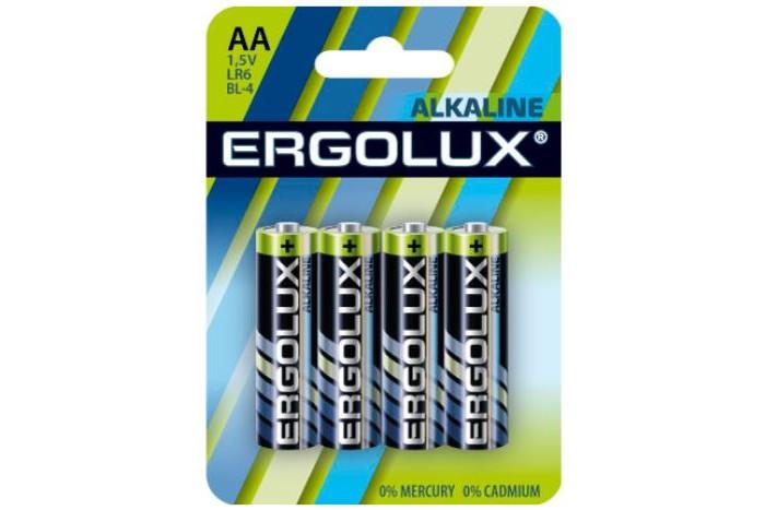 Батарейки, удлинители и переходники Ergolux Батарейка Alkaline BL-4 (AA - LR6, 1.5В) батарейки samsung pleomax lr6 4bl aa 4 шт
