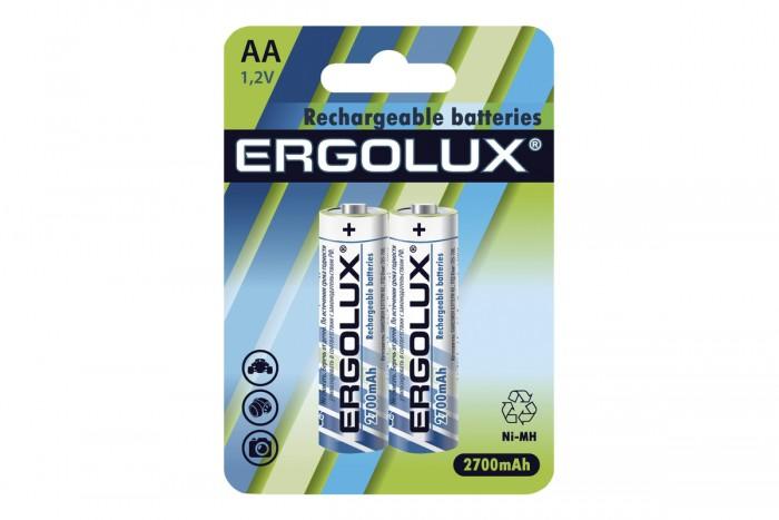 Батарейки, удлинители и переходники Ergolux Аккумулятор AA-2700mAh Ni-Mh BL-2